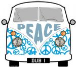 PEACE Hippy Slogan For Retro SPLIT SCREEN VW Camper Van Bus Design External Vinyl Car Sticker 90x80mm